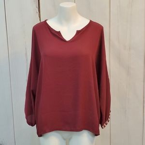 BKE Red Top Blouse Embroidered Peasant Boho XL